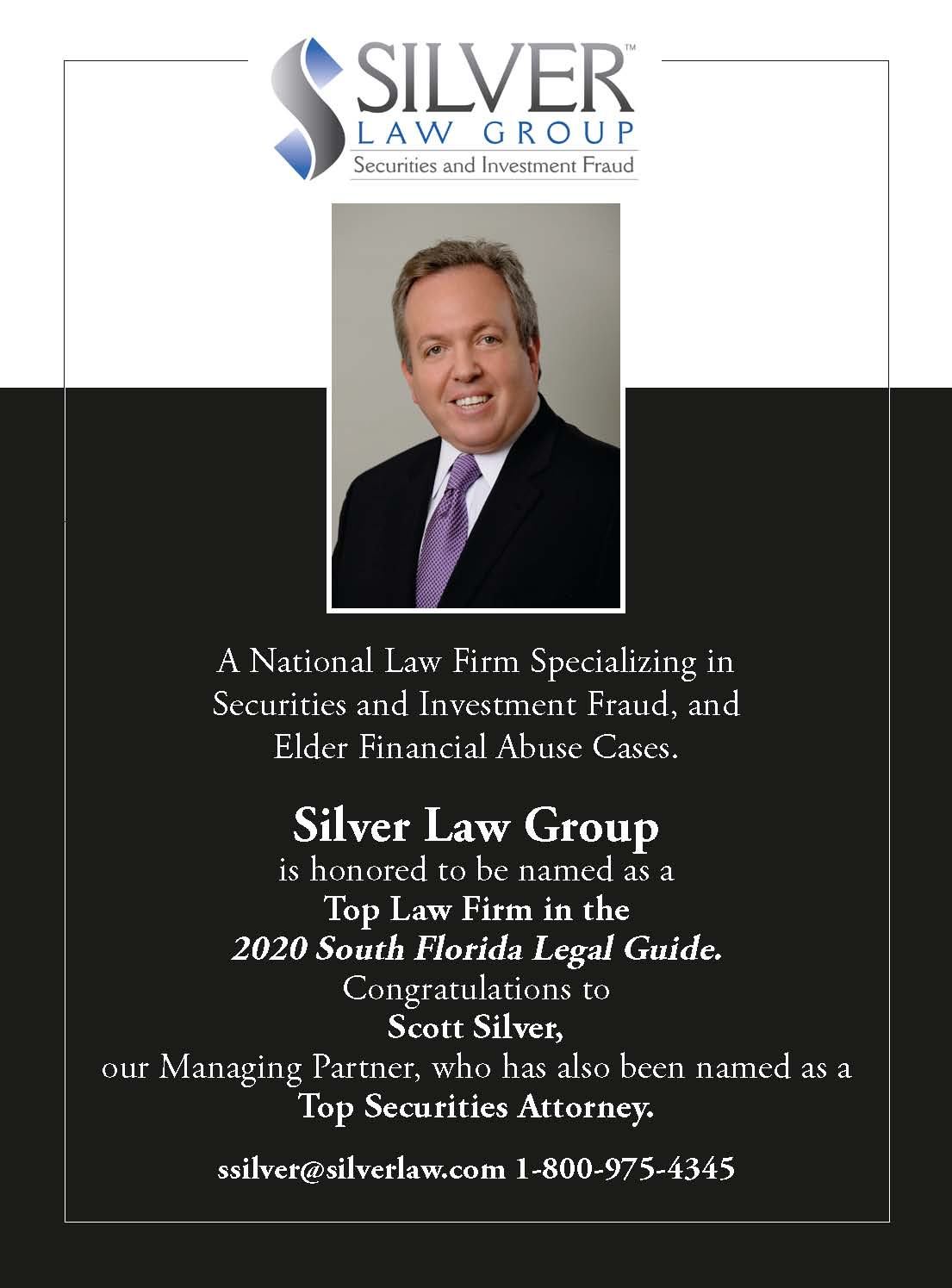 South Florida Legal Guide Names Silver Law Group A Top Securities Fraud Law Firm