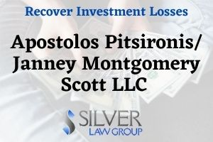 Apostolos Pitsironis (CRD#: 2804907) is a former registered broker and investment advisor whose last employer was Janney Montgomery Scott LLC (CRD#:463) of Montgomery, NY. Previous employers include Wells Fargo Clearing Services, LLC (CRD#:19616) of Hauppage, NY, RBC Capital Markets, LLC (CRD#:31194) if Jericho, NY, and Morgan Stanley DW INC. (CRD#:7556) of Purchase, NY. He has been in the industry since 1999.