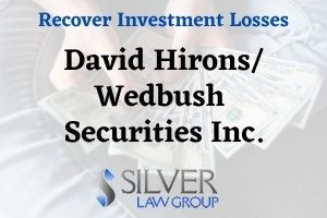 David Hirons (David Roger Hirons CRD:# 2424566) is a registered broker and investment advisor currently employed with Wedbush Securities Inc. (CRD#: 877) of San Diego, CA. His previous employers include RBC Capital Markets, LLC (CRD#:31194) of La Jolla, CA, and Wells Fargo Advisors, LLC (CRD#:19616) and A. G. Edwards & Sons, INC. (CRD#:4) of San Diego, CA. Hirons was both a broker and investment advisor at all but one previous employer. He has been in the industry since 1994.