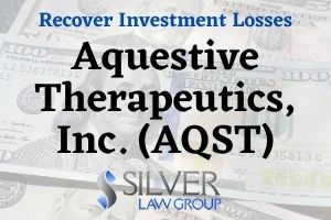 "Silver Law Group is investigating Aquestive Therapeutics, Inc. (AQST) regarding potential violations of federal securities laws. If you have losses from investing in Aquestive Therapeutics, Inc. (AQST) stock, contact Silver Law Group for consultation at no cost at (800) 975-4345 or by email at ssilver@silverlaw.com. Aquestive Therapeutics, Inc. (AQST) Drug Libervant Aquestive Therapeutics, Inc. (AQST) is a specialty pharmaceutical company based out of New Jersey that ""focuses on identifying, developing, and commercializing various products to address unmet medical needs."" On September 25, 2020, Aquestive said that it had received a Complete Response Letter (CRL) from the Food and Drug Administration (FDA) for its New Drug Application for Libervant Buccal Film. Libervant is a drug being developed to manage seizure clusters."