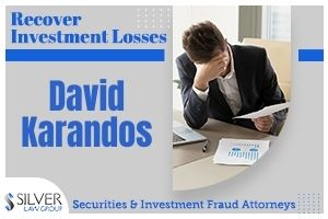 "David Karandos (David Michael Karandos CRD# 1934119), a previously-registered broker and investment adviser who last worked for Dinosaur Financial Group, LLC in Indianapolis, Indiana, is the subject of multiple customer disputes. Before working for Dinosaur Financial Group, Karandos worked for Morgan Stanley Smith Barney and UBS Financial Services.  David Karandos Disclosures  David Karandos is the subject of 12 disclosures on his publicly-available BrokerCheck report, which includes 6 customer disputes, 2 regulatory, 2 judgment/lien, 1 financial, and 1 criminal:  November, 2020: A customer dispute alleged that ""Karandos placed client in unsuitable investments from 2014 to 2018 and improperly withdrew funds from other family accounts from 2016 to 2018."" $436,000 in damages were requested and the dispute is pending as of this writing."